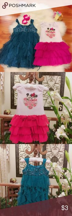 Dress Bundle of super cute dress, dark blue is size 5, pink one is size 4T, Disney brand, in used good condition, no stain and no wear as I know of, Details please see the photos, we are smoke and pet free family. Happy and worry-free poshing here in my closet, Hooray. 🤛🤛😀😀 Dresses Casual