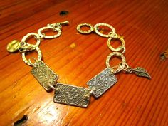 Check out Disarmingly Lovely, Delicate, Embossed FLORAL All STERLING Silver 3-Foci Panels CHARM Bracelet w/Toggle & 2 Dangling Charms on theunitgal