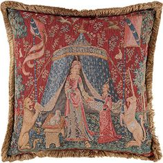 Reversible Lady Tapestry Cushion 48x48cm