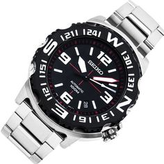 Seiko Men& Automatic - In Stock, Free Next Day Delivery, Our Price: Buy Online Now Seiko 5 Sports, Seiko Men, Mens Sport Watches, Seiko Watches, Stainless Steel Bracelet, Casio Watch, Jewels, Stuff To Buy, Accessories