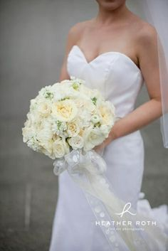 I love the idea of a long ribbon on my bouquet.