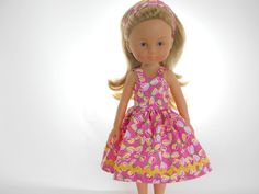 Designed for 13 inch dolls like Les Cheries doll clothes, Pink Dragonfly Dress, 05-1112 by thesewingshed on Etsy