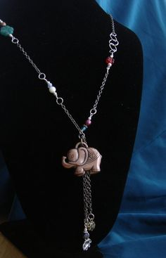 Necklace with an elephant  as a center piece by BBBsDesigns, $22.00
