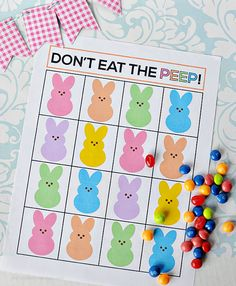 "Super fun ""Don't Eat the Peep"" Easter game. Print out and play with your family!"
