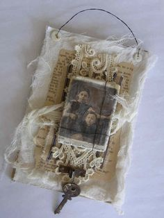 Mixed Media Collage with Canvas by tinybearstudio on Etsy, $28.00