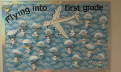 Beginning of the year bulletin board Travel Bulletin Boards, Class Bulletin Boards, Preschool Bulletin Boards, September Bulletin Boards, School Themes, Classroom Themes, Classroom Organization, Classroom Design, School Ideas