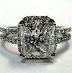 Thin halo with double band and chunky prongs