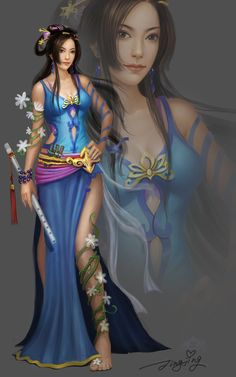 fantasy Asian art woman warrior
