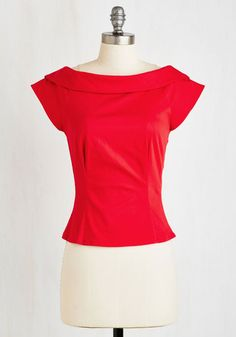 Let's Get Groovin' Top - Short, Red, Solid, Bows, Rockabilly, Pinup, Vintage Inspired, 50s, Sleeveless, Woven, Better, Collared, Cotton