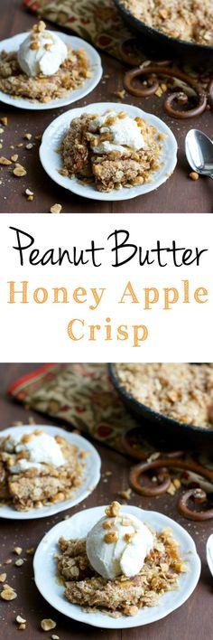 Peanut Butter Honey Apple Crisp! A delightful apple crisp with a peanut butter twist!