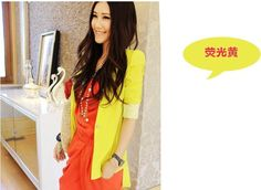 Yellow Frilled Hem Asian Fashion 3/4 Sleeves Jacket With Lace Cuffs
