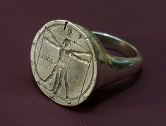 Vitruvian Man Ring (2009, IT) Ring 150. by Blind Spot Jewellery on Flickr.  // amazing #metalsmith #jewelrymaker / Janos Gabor Varga