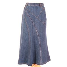 Stylish washed modest denim skirt with beautiful details and feminine silhouette. Narrow waistband with belt loops; hidden side zipper. From New Creation Apparel