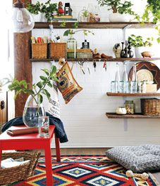High/low: Industrial-chic sunroom  this is the LOW!!! love the pendant from lowes