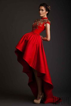 Really interesting designer-flag krikor jabotian couture spring 2014 akhtamar red mullet dress cap sleeves Style Haute Couture, Couture Fashion, Fashion Beauty, Pretty Dresses, Beautiful Dresses, Gorgeous Dress, Mullet Dress, Red Mullet, Krikor Jabotian