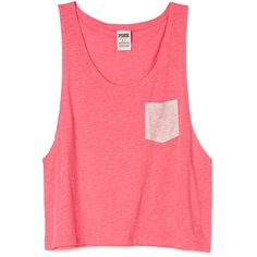 Victoria's Secret PINK Crop Muscle Tank ($20) ❤ liked on Polyvore featuring tops, shirts, tank tops, crop tops, blue, red tank top, crop tank, blue tank top, cropped tops and layering tanks