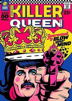 'Planet Mercury' - Queen-Songs als Vintage Comic Cover von Butcher Billy Comics Vintage, Vintage Comic Books, Vintage Art, Vintage Rock, Vintage Music, Killer Queen, Rock Posters, Band Posters, Reine Art