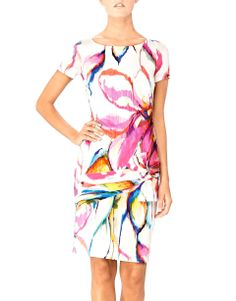 Floral Explosion - Blugirl Spring Summer 2014 • Cut from a lightweight jersey, this colorful dress features Blugirl's abstract flower design. A touch of stretch and the wrapped ribbon at the hips line ensure a figure-flattering fit. Wear it from day to evening with neutral sandals.