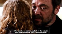 [GIF] Why can't you people just sit in the clouds and play harps like you're supposed to? ~ Crowley LOL #Supernatural 10x03 #angels
