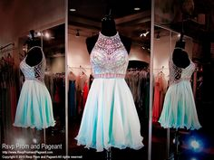 This has to be the cutest short dress you've ever seen in mint with its heavily beaded high neckline and back and it's at Rsvp Prom and Pageant, your Atlanta Prom Store!