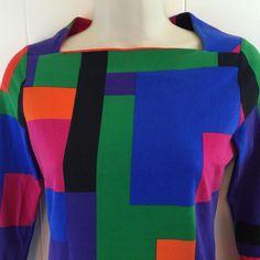 Women's #LaurenRalphLauren XS Top. Artsy Colorful Cotton Square Neck Knit Blouse.