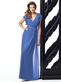 Dessy Collection Style 2874 - full length lux chiffon dress w/ flutter sleeves and draped wrap v-neckline. Pleated detail at skirt front. Lux chiffon covered silver sequin belt always matches dress Dessy Bridesmaid Dresses, Prom Dresses, Formal Dresses, Bridesmaid Ideas, Wedding Dresses, Wedding Bridesmaids, Wedding Attire, Formal Wear, Plum Bridesmaid
