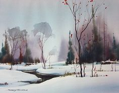 Meandering by sterling edwards Watercolor ~ 11 x 14 Winter Fluß Art Aquarelle, Watercolor Pictures, Watercolor Trees, Watercolor Landscape, Abstract Watercolor, Abstract Landscape, Landscape Paintings, Painting Snow, Winter Painting