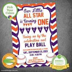 Personalized Baseball Birthday Invitation - Color Options Available on Etsy, $15.00