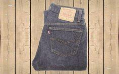 Vintage Levis 501 Jeans USA Made 1990s Dark Grey Denim Straight Leg Button Fly…