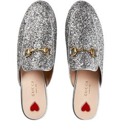 236ba64e742 Gucci Nib  750 Princetown Glitter Princetown Loafer Silver Mules (2 545  PLN) ❤ liked