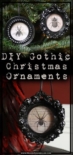 DIY Gothic Christmas Ornaments | Vintage Insect Specimens | Halloween Everyday | Black Baroque Frames | Rub n Buff | Sihouette Sticker Paper | www.MeandAnnabelLee.com