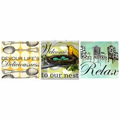 Sweet Sayings Nest Trio Canvas Reproduction