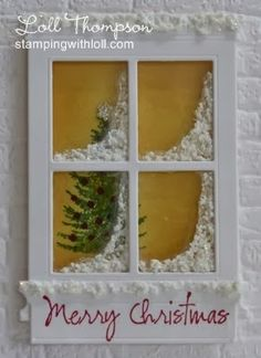 handmade window card ... Christmas theme ... luv the fluffy snow piled in the window corners ...