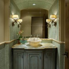 full mirror on wall makes it look bigger  Bathroom Powder Room Design, Pictures, Remodel, Decor and Ideas - page 2