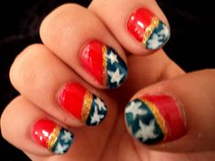 wonder woman nails.cool idea bad artwork. Im sure a great nail technician can do it beautifully