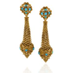 English Victorian 18 karat gold ear pendants with turquoise. The earrings have 22 cabochon turquoise stones with woven gold wire conical shaped pendants decorated with woven wire work circular forms, topped by a wire cluster decorated with turquoise.  Circa: 1840's