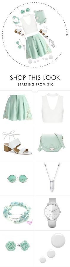 """""""White and Green"""" by polyrush on Polyvore featuring Chicwish, Tahari, Loeffler Randall, Nine West, LC Lauren Conrad and Topshop"""
