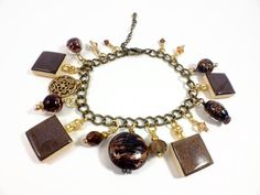 Hot Chocolate Soul Scrabble Tile Bracelet with beads.  $28.00  Find this & more at www.wiredboutique.etsy.com