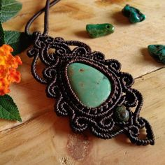 Macrame Necklace Pendant Green Turquoise Stone Cotton Waxed Cord Handmade…