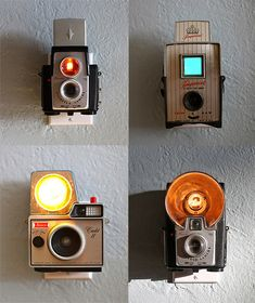 Old cameras turned into nightlights. I have a bunch of old cameras and this is a great idea. Old Cameras, Vintage Cameras, Antique Cameras, Diy Lampe, Foto Fun, Nightlights, Design Blog, Design Design, Home And Deco