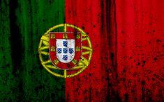 Download wallpapers Portuguese flag, 4k, grunge, flag of Portugal, Europe, national symbols, Portugal, coat of arms of Portugal, Portuguese coat of arms