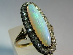 Stunning: Victorian Opal and diamond ring Opal Jewelry, Jewelry Rings, Jewelry Box, Jewelery, Victorian Jewelry, Antique Jewelry, Vintage Jewelry, Moonstone Ring, Opal Rings