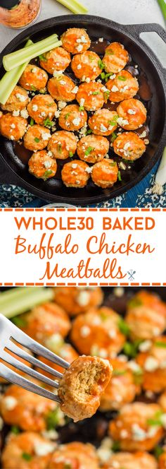 Baked Buffalo Chicken Meatballs This one-pot, 30 minute meal is the perfect dinner! This simple, paleo recipe is for every buffalo chicken lover.This one-pot, 30 minute meal is the perfect dinner! This simple, paleo re Paleo Recipes Easy, Clean Eating Recipes, Whole Food Recipes, Diet Recipes, Healthy Eating, Cooking Recipes, Recipes Dinner, Whole30 Recipes, Cooking Tips