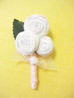 Set of 6 Paper Flower Boutonnieres  Custom Colors by IsleOfOwlie, $75.00