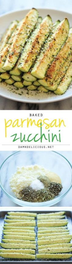 Baked Parmesan Zucchini - Crisp, tender zucchini sticks oven-roasted to perfection. It's healthy, nutritious and completely addictive! #tillbehör #grönsaker