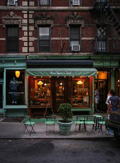"forthepleasureofmylife: ""Once Upon a Tart New York Photo: Dieter Krehbiel "" Nyc Coffee Shop, Coffee Shop Design, Coffee Cafe, Coffee Shops, Drink Coffee, Cafe Bar, Cafe Shop, Cafe Interior Design, Cafe Design"