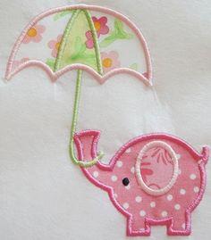 precious Elephant Umbrella Machine Embroidery Applique Design. $4.00, via Etsy.