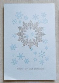 """Type reads: """"WINTER JOY AND INSPIRATION"""" Colors: blue and metallic gold Paper: Curious Paper, metallic blue Size: 10""""x 7"""" Envelope: comes with white envelope"""
