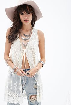 Floral-Embroidered Crochet Vest | FOREVER21 - 2000136962 GIVE IT TO ME