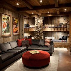 Ultimate Comfort Man Cave Shed It doesn't matter what sport you prefer, when you sit down to watch the big game, you want to do it in style. If you're thinking of building your own man cave, here are 15 awesome ideas for inspiration. Rustic House, Room Design, Bars For Home, Home, Rustic Living Room, Family Room, Family Room Design, Basement Design, Home Decor